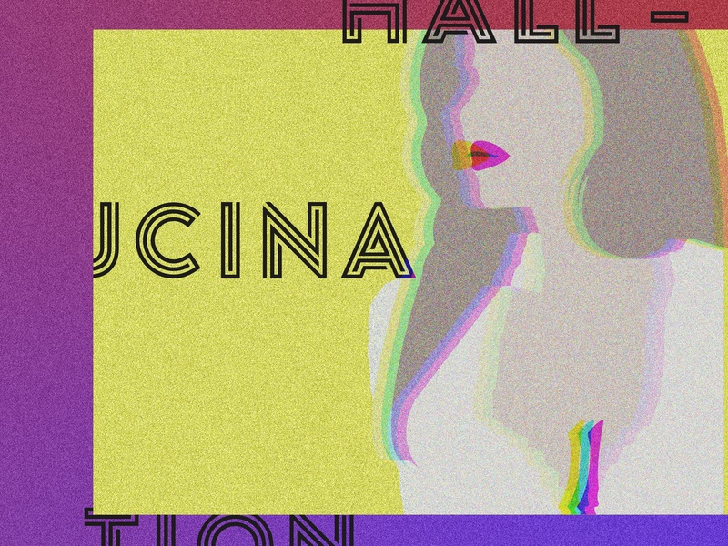 Hallucination playful abstruct aesthetics bold digital art illustration asthetic concept poster