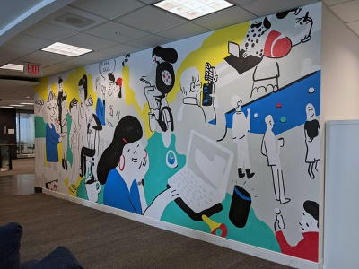 Office Mural Concept Illustration wall art procreate app social toronto branding people office illustraion mural