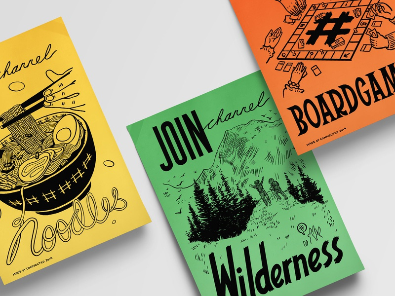 Old School Posters wilderness noodles boardgames black and white procreate flyers community illustration handlettering vintage lineart poster
