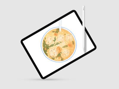 Soup Series: Italian Wedding hand drawn drawing italian wedding soup meatball food art bowl food illustration food card ipad pro procreate app italian food soup illustration