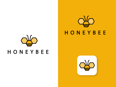 Honeybee logo design in shape of hexagons. yellow logo hexagon logo logo design logodesign honeycomb honey bee restaurant design vector illustration elegant clean branding minimal fly hexagon logo bee honeybee honey