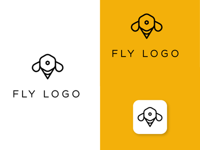 Fly logo design in shape of hexagon. yellow line logo company logo fly logo fly honeycomb icon foodie featured restaurant elegant clean branding minimal design comb bee honey honeybee