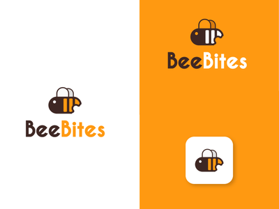 honeybee logo style for restaurants and cafes. taste hotel cafe restaurant food fly illustration vector elegant minimal design logo design logo yellow logo bites yellow honeycomb bee honeybee honey