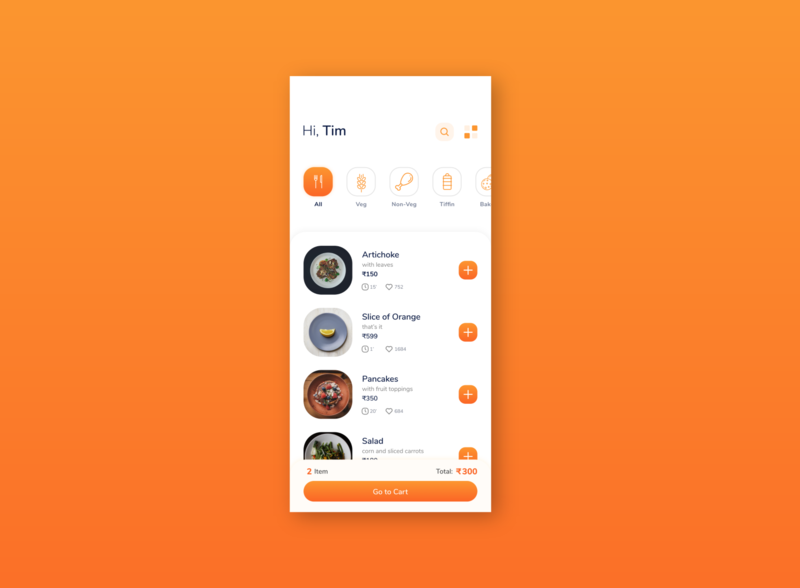 Food App Design Idea. mobile orange cafe product list option search categories item price like food order app ui clean restaurant elegant minimal design