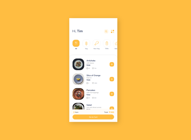 Food App Design Idea. yellow cafe product list option search categories item price mobile like food order app ui clean restaurant elegant minimal design