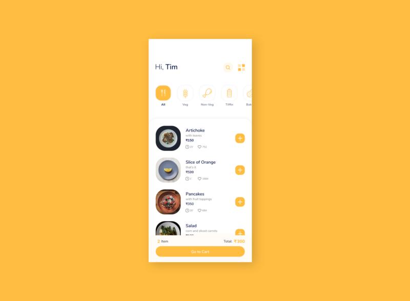 Food App Design Idea. yellow cafe product list option search categories item price mobile like food order app ui clean restaurant elegant minimal design