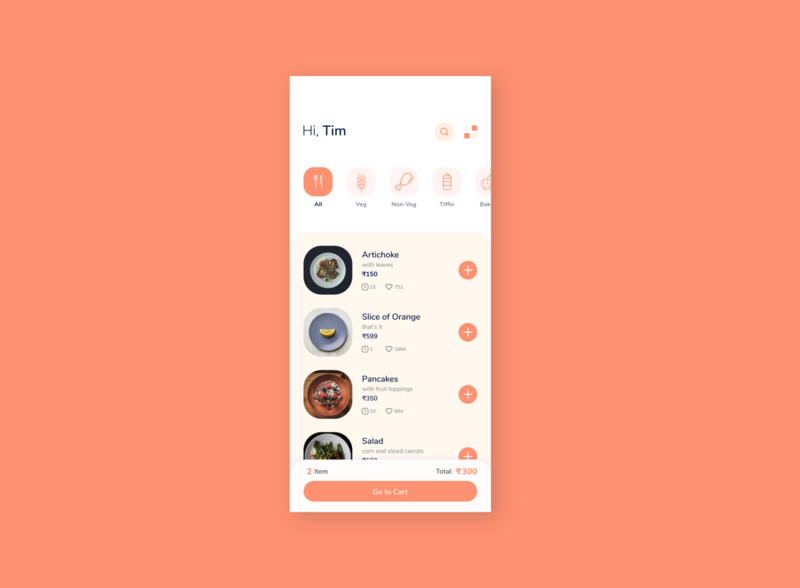 Food App Design Idea. pink cafe product list option search categories item price mobile like food order app ui clean restaurant elegant minimal design