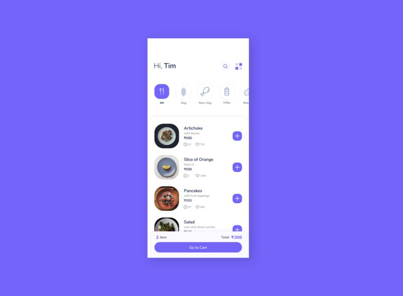 Food App Design Idea. blue cafe product list option search categories item price mobile like food order app ui clean restaurant elegant minimal design