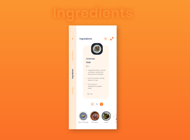 Food App Ingredients Screen Idea dot ingredients plate artichoke options back like list search price item app ui cafe food clean restaurant elegant minimal design