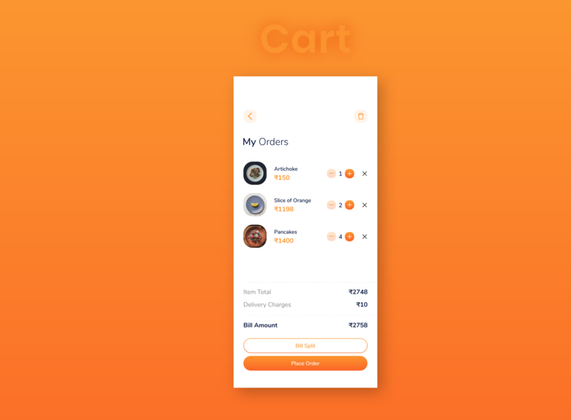 Food App Cart Screen Idea order price basket bag details split bill cart delete add subtract item app ui cafe food clean restaurant elegant minimal design