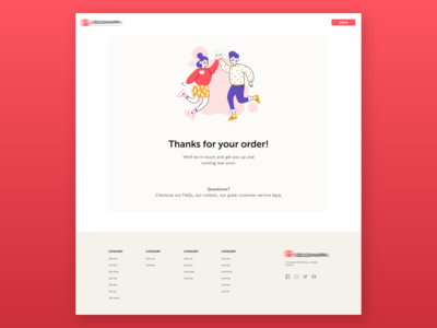 Thank you page design website up catch modern elegant minimal clean login links icons social five high illustration footer thankyou order thanks you thank