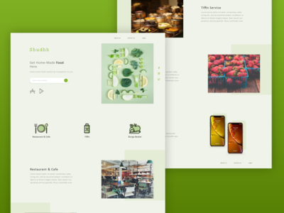 Restaurant Website Design Idea website online vegetable vegan fruits tiffin social media seach app location categories order ui cafe food restaurant clean elegant design minimal