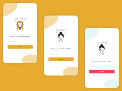 Login Mobile Screen Designs cute signup sign up login party yellow girl mobile ui vector ux branding logo illustration ui clean elegant minimal design app mobile