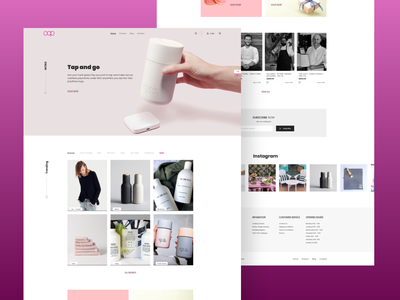 Minimal e-commerce website design buy sell cafe books instagram footer pink header bottle brand ecommerce item categories order branding ui clean elegant design minimal