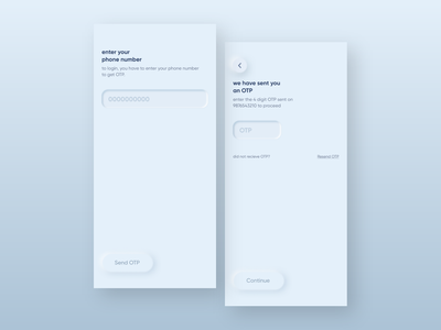 login and OTP screen in light theme neomorphic neomorphism phone number awesome cool login screen start screen page typography ux ui app clean design elegant minimal login