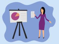 Woman giving presentation illustration