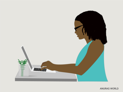 Woman working on Laptop Vector Illustration