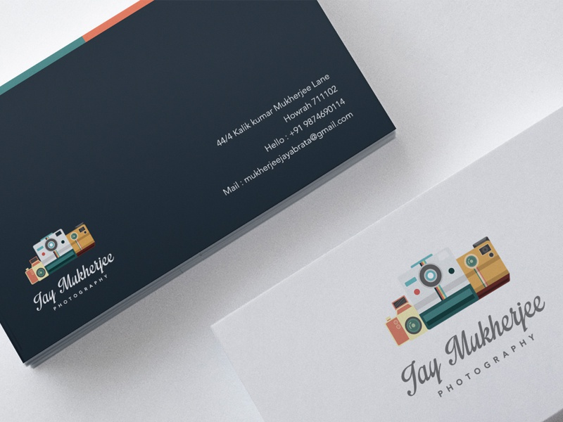 Business Card photography business card white card flat colorful