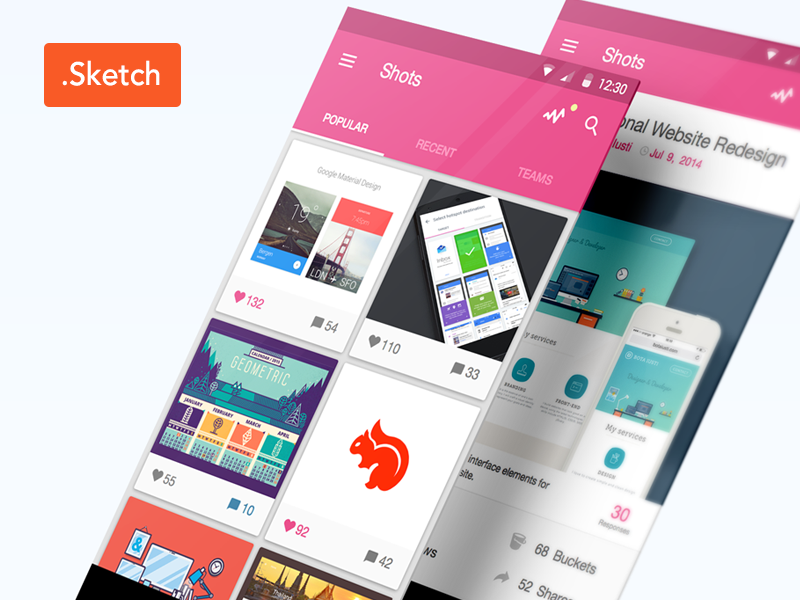 Dribbble App Material Design app ui icons interfaces simple pink ux dribbble sketch free download
