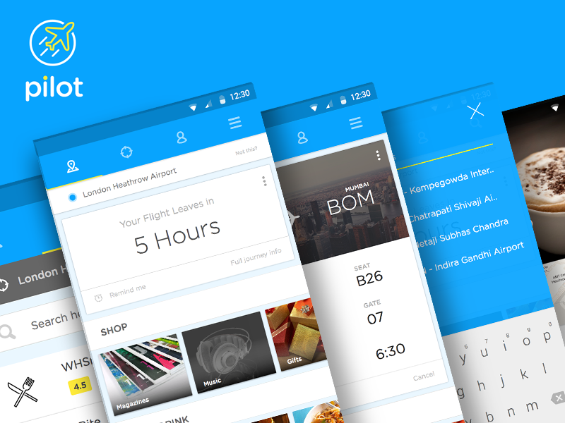 Pilot App ui app blue cards material design android icon