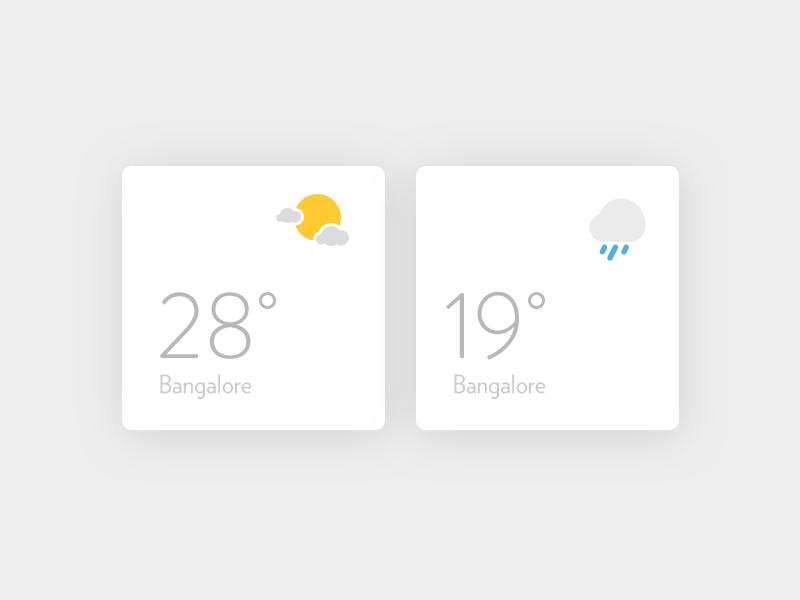 Weather widgets ui ux flat icons clean widget