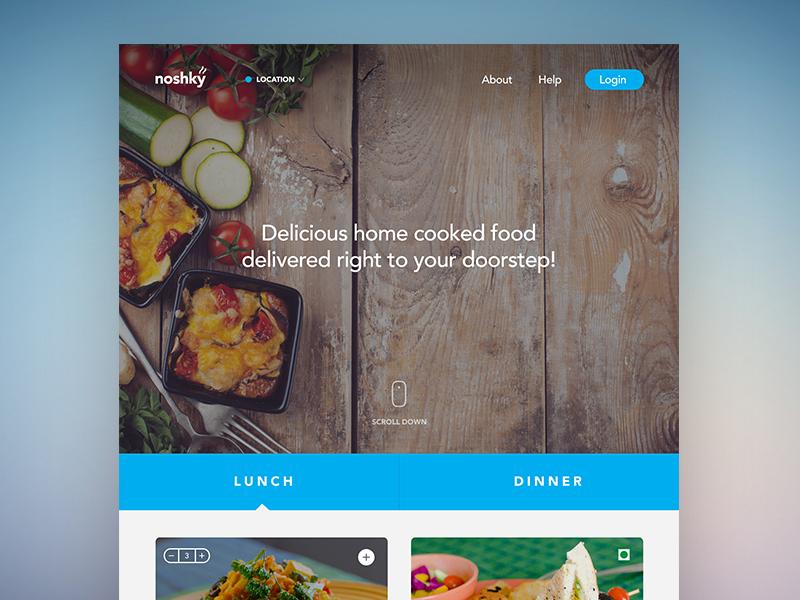 Noshky Landing Page ui web homepage design flat