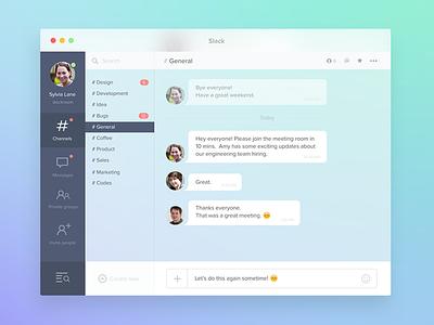 Slack Redesign Concept for OS X os x mac app slack redesign website design ui colors clean