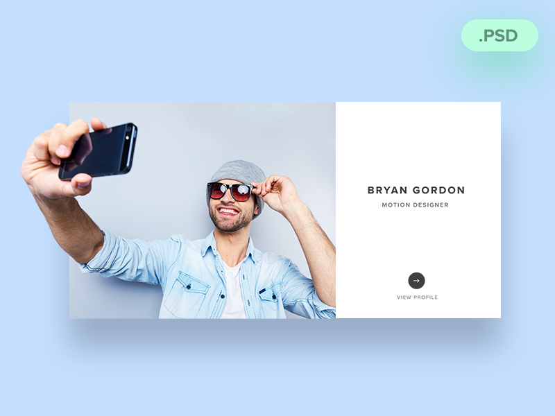 Designer Profile card download free psd profile designer
