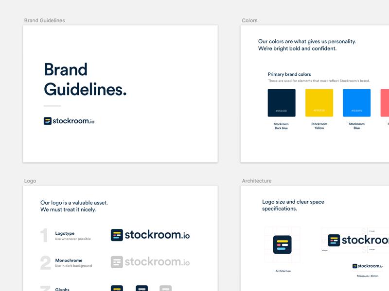 Stockroom.io Brand Guidelines colors typography design guidelines brand