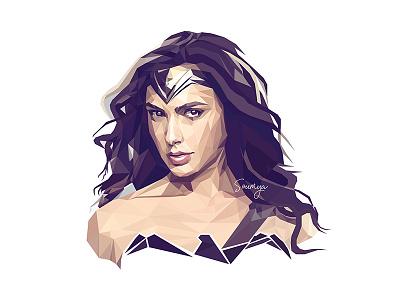 Low Poly Portrait - Wonder Woman wonder woman illustration lowpoly