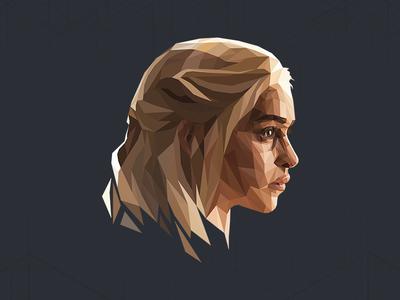 Daenerys Targaryen illustration portrait lowpoly