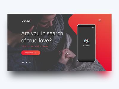 L'amour love calculator website love gradient landing page