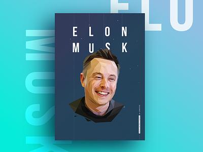 Elon Musk illustration portrait a3 poster lowpoly elon musk