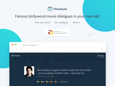 FilmyQuote Chrome Extension dribbble chrome extension