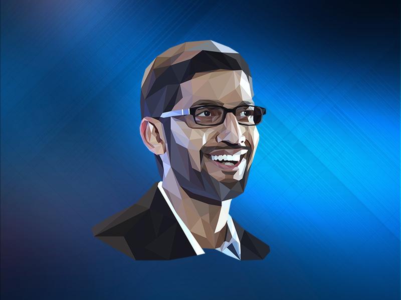 Sundar Pichai portrait illustration lowpoly