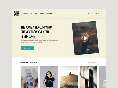 No One Left Behind Main Page website typography yellow pledge crowdfunding fund raising donation social