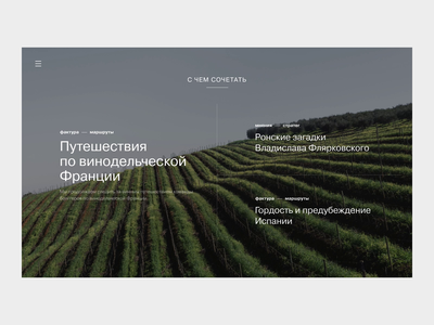 Simple Wine News Theme Screen webdesign wine hover effect hover state big photo typography animation website ui