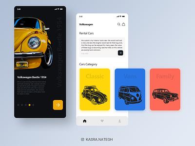 Volexvagon Shopping app concept yellow volex shopping app blue orange white black car icon vector application ui application xd uiux ux adobexd uidesign ui