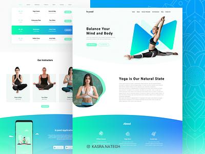 b:yond Meditation Website Concept reservation class yoga studio yoga meditation gradiant blue green landing page design ui  ux xd uiux ux adobexd uidesign ui