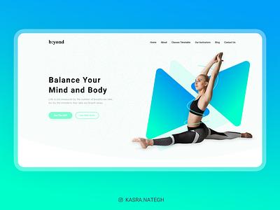 b:yond Meditation Website Concept landing design blue green yoga landing page meditation branding xd uiux material design design ux adobexd uidesign ui