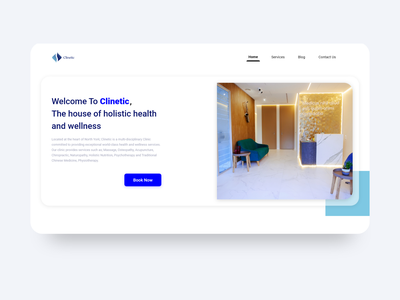 Clinetic Website massage healthy blue landing page webdesign wordpress clinic typography product logo uiux material design design ux adobexd uidesign ui