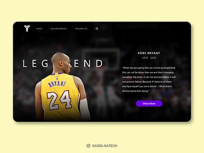 Kobe Bryant Landing Page basketball lakers purple yellow black button landing page design landing kobe bryant kobe typography adobexd logo ui  ux xd uiux ux uidesign ui