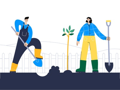 Planting a tree woman man agriculture character sprouts couple volunteering garden tree illustration minimal flat