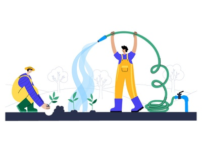 Seedlings planting woman man agriculture character sprouts garden watering farm illustration minimal flat