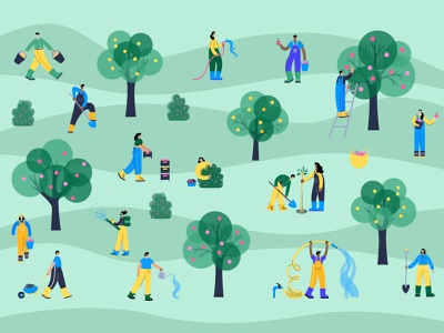 Garden time planting woman man agriculture character apples garden watering farm illustration minimal flat
