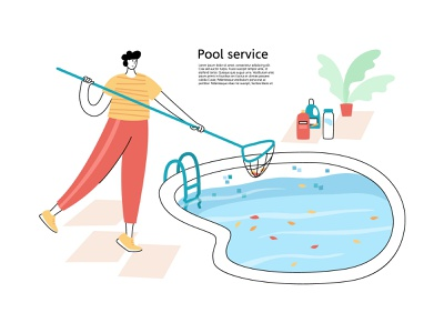 Pool cleaning clean blue water service care cleaning pool maintenance character illustration minimal flat