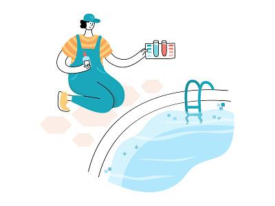 Pool maintenance clean blue water service care cleaning pool maintenance character illustration minimal flat