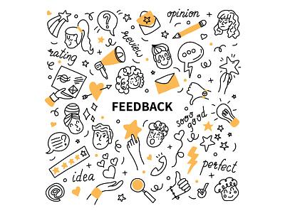 Feedback concept assessment survey customer online review feedback handdrawn vector character illustration minimal flat