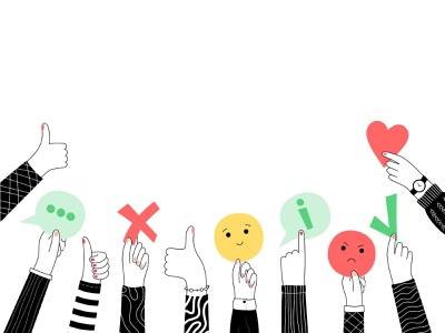 Review concept assessment customer thumb up review feedback hand vector character illustration minimal flat