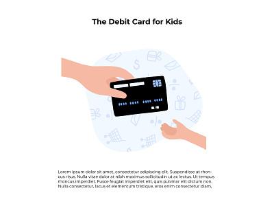 Сhild financial education money kid person card banking bank finance child vector illustration minimal flat